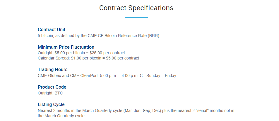 Bitcoin Futures Contract Specifications